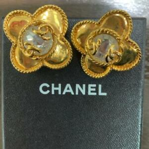 Auth Vintage CHANEL CC Logo Clear Stone Flower Clip On Earrings Gold Used F/S