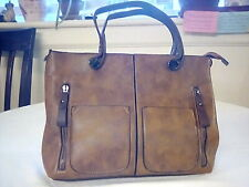 Brown Natural Leather Look Hand Bag Purse Nice Size Pockets New W/O Tags