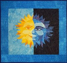 """~ NEW QUILT PATTERN ~ SUN AND MOON ~ QUILTED WALLHANGING ~ 23""""x26"""" ~"""