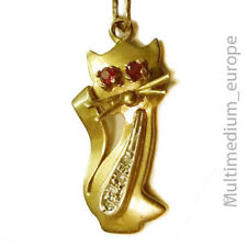 Vintage 333 Gold Anhänger Katze Rubin Diamant pendant cat charm ruby diamond 8ct