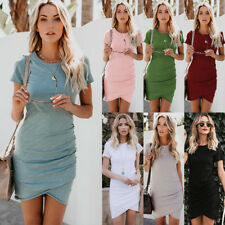 UK Womens Holiday Bodycon Dress Ladies Summer Party Mini Asymmetric Dresses 6-18