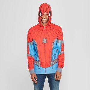 Bioworld Men's Marvel Spiderman Zip-Up Long Sleeve Hooded Sweatshirt - Red Large