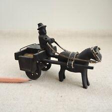 Vintage Irish Bog Oak Jaunting Cart Horse Driver Victorian Folk Art Carved Wood