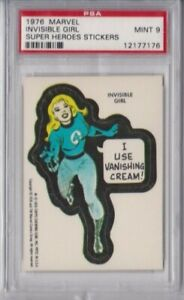 1976 TOPPS MARVEL SUPER HEROES STICKERS CARD - INVISIBLE GIRL PSA 9 MINT
