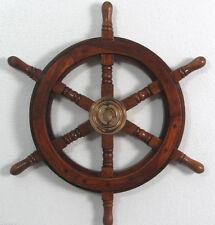 Roue De Gouvernail Bateau Maritime Barre Pirates Navire Bois En Laiton Déco