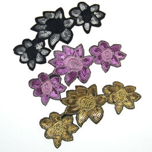3PCS DIY Sequins Flower Patches Embroidered Applique Sewing Fabric Craft Fashion