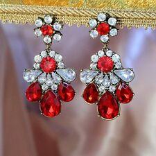 Boucles d'Oreilles Clips Pendante Fleur Rouge Retro Style Original Cadeau A3