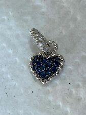 Judith Ripka Sterling Silver Blue Pave Sapphire Heart Dangle Bead Charm