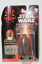 Star Wars Episode 1 CommTech Mace Windu Jedi Cloak Figure 1998 New on Card