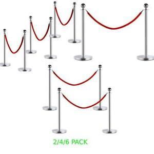 Hot Style 2/4/6 PCS Stanchion Post Queue Pole Velvet Rope Crowd Control Barrier