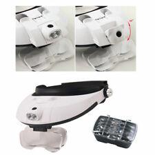 Headband 5Lens Binoculars Third Hand Magnifier Light Jewelry Repair Reading Magn
