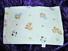 Vintage Fisher Price Baby Blanket Flannel Cotton Receiving Farm Cow Horse Cat