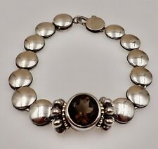Retired Lagos Sterling Disc Bracelet,18K Beaded Caviar Bezel Champagne Spinel