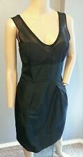 Mayle Silk Wool Sheer Button Detail Combo Black Cocktail Dress 6