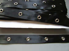 Black Satin Eyelet Trim/Tape 1.8cm   Sewing/Costume/Crafts/Corsetry/Punk/Goth