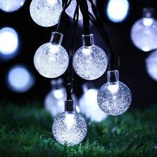 Solar Outdoor 30 LED string light Rope Fairy Garden Tree Crystal Ball Bulb White