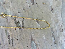 """10 KT Yellow Gold Singapore Link Style Bracelet 9"""" or Anklet Thin Lightweight"""