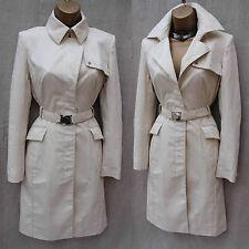 Karen Millen Tailored Ivory Stretch Cotton Long Posh Mac Trench Coat Jacket 8 UK