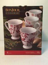 4 Holiday Christmas Coffee Mugs Yuletide Garland 12 oz Red White Porcelain