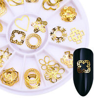 3D Nagel Dekoration im Rad Herz Star Runden Gold Studs Nagel Dekoration DIY