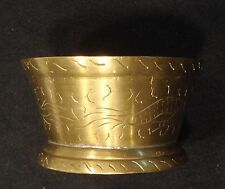 """VINTAGE BRASS CHINESE BOWL, HAND ENGRAVED, MARKED """"CHINA"""" ON THE BOTTOM"""