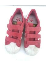 Adidas Originals Pink Superstar Pink White  Suede Ortholite Shoe Big Kids Size 2
