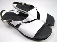 Clarks White Black Leather Sandals Womens Size 8 M Shoes Buckle closure