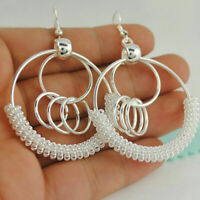 "Elegant 925 Sterling Silver Big Round Hook Hoop 2.5"" Women Fashion Earrings"