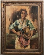Stunning full body portrait of a women going to the well for water. Signed Tota