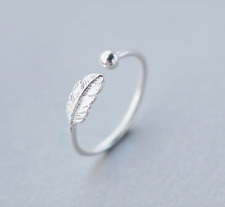 Women Classic Silver Ring 925 Sterling Silver Band feather leaf size 5 6 7 8