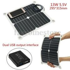 13W 5.5V Portable Mini Solar Panel Cell Dual USB Battery Charger For iPhone iPad