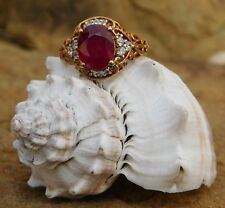 Niassa Ruby, Laced with Zircon RING sz 6 14K Gold/ Sterling Silver TGW 3.64 cts.