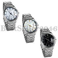 Fashion Men 12/24H Date Silver Stainless Steel Band Quartz Sport Wrist Watch