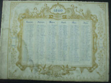 calendrier 1840 romantique  recto verso angelots cherubins