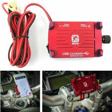 1X Rot CNC Motorrad Lenker GPS-Telefonhalter Halterung mit 2.5A USB-Ladegerät