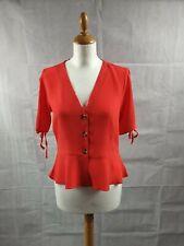 Topshop Women's Red Button Down Tea Blouse Size 10 BNWT