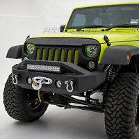 "Stubby Rock Crawler Front Bumper+ 21""~ 22"" LED Light Mount for 07-18 JK Wrangler"