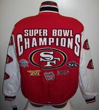 SAN FRANCISCO 49ERS 5 Time Super Bowl CHAMPIONSHIP Jacket Sewn Logos MED Style 1