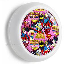BATGIRL SUPER HERO GIRL WONDER WOMAN  WALL CLOCK PINK BEDROOM HOME ROOM DECOR