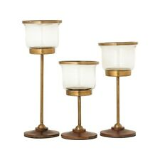 Elk Lighting Danrich Set of 3 Pillar Holders, Brass/Walnut/Clear - 573767
