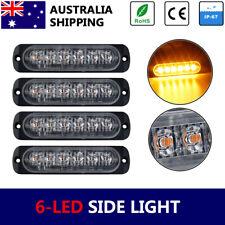 Amber Yellow 4x 6-LED Side Light Marker Flashing Truck Emergency LightBar 12v