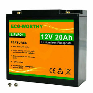 12V 20Ah Lithium LiFePO4 Deep Cycle Rechargeable Battery Built-in BMS for RV