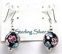 Sterling Silver Earrings Dangle Millefiori Black Base French Ear Wires