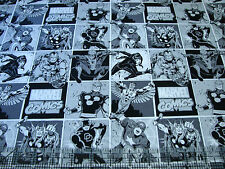 1 Yard Quilt Cotton Fabric- Camelot Marvel Avengers Immortals Comic Squares BW
