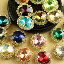 12 12mm round square sew On faceted glass Jewel GEM crystal RHINESTONE trim Bead