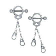 14G Stainless Steel Dangling Handcuff Barbell Nipple Ring Pair Navel Jewelry