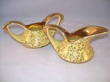 Vintage Pearl China Pearlized Lusterware Creamer & Sugar Yellow 1930's Gold USA