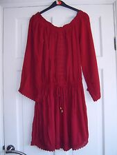 PRIMARK ~ Stunning Burgandy Off The Shoulder / Lace Gypsy Dress Size 8 new
