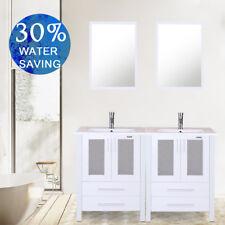 "White Bathroom Vanity 48"" Double Drop in Rectangle Ceramic Sink Faucet Mirror"