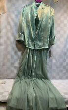 KM COLLECTION Evening Gown w/ Jacket Women's Size 12 NEW NWT Celedon Green